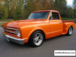 1968, Chevrolet, Short, Bed, Show, Truck, Orange, Metallic Paint, Front, Left